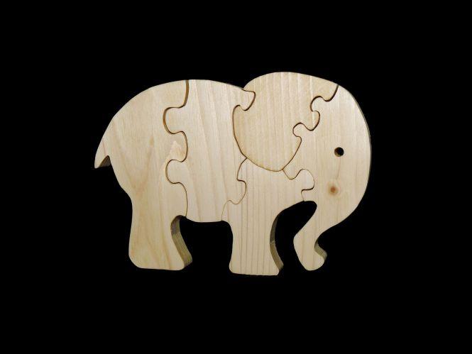 Dekupiersägearbeit: Puzzle Elefant aus Fichte Leimholz